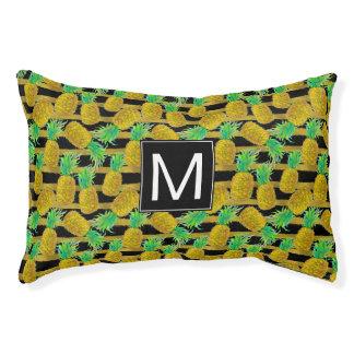 Golden Pineapples On Stripes | Monogram Small Dog Bed