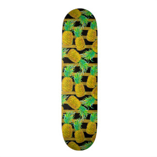 Golden Pineapples On Stripes Skateboard Deck