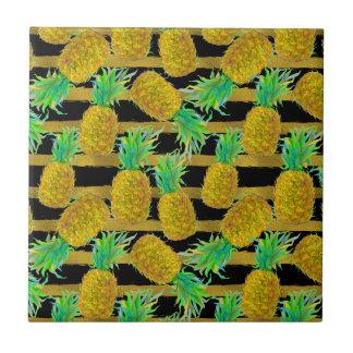 Golden Pineapples On Stripes Tiles