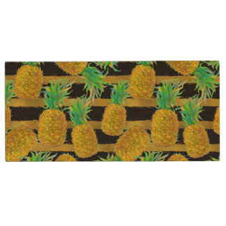Golden Pineapples On Stripes Wood USB 2.0 Flash Drive