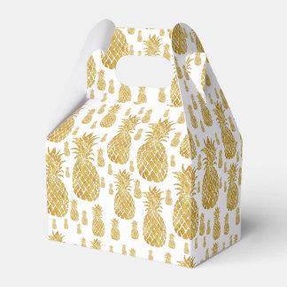golden pineapples tropical pattern favor box