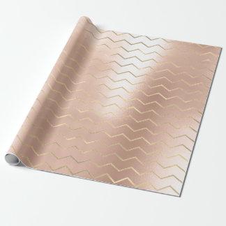 Golden Pink Chevron Stripe Metallic Pearly Blush Wrapping Paper