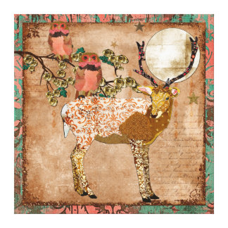 Golden Pink Gypsy Owls Ornate Buck Moonlight Can Stretched Canvas Prints