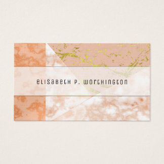 Golden  Pink Marble Collage Mixed Media Business Card