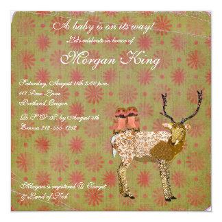 "Golden Pink Owls & Ornate Deer  Baby Shower Invita 5.25"" Square Invitation Card"