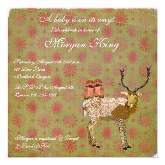 Golden Pink Owls & Ornate Deer  Baby Shower Invita Custom Invites