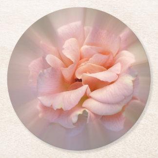 Golden pink round paper coaster