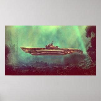 Golden Pirate Submarine Poster