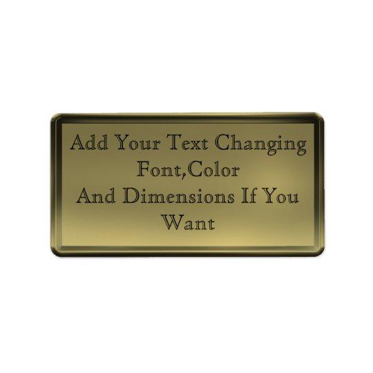 Golden Plate Label