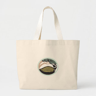 Golden Plover Looking Up Tree Oval Tribal Art Large Tote Bag