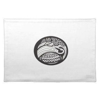 Golden Plover Looking Up Tree Oval Tribal Art Place Mat