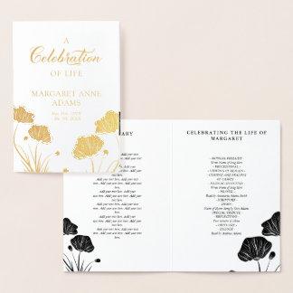 Golden Poppies Celebration of Life Funeral Program Foil Card