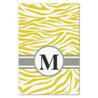 Golden Poppy Safari Zebra with monogram Tissue Paper