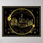 Golden Praise Be To Allah, Mosque Print