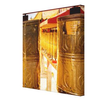 Golden Prayer Wheels Canvas Print