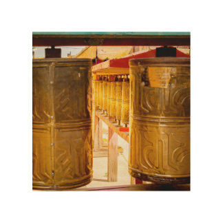 Golden Prayer Wheels Wood Wall Decor