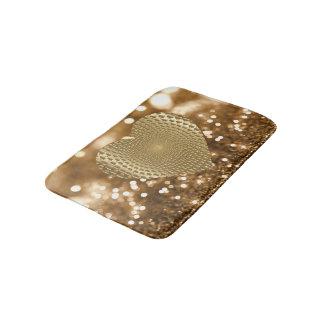 Golden Prismatic Heart Bokeh Faux Glitter Bath Mat