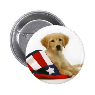 Golden Puppy and Uncle Sam Hat 2 Inch Round Button