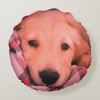Golden Puppy - Angel Face - Round Throw Pillow
