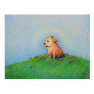 Golden puppy dog beautiful spring day art - Heaven Postcard