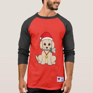 Golden Puppy in Santa Hat with Lollipop T-Shirt