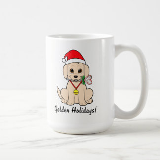Golden Puppy Santa Hat and Lollipop Customizable Coffee Mug