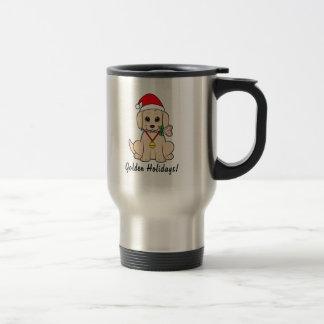 Golden Puppy Santa Hat and Lollipop Customizable Travel Mug