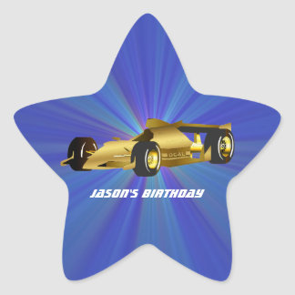 Golden Race Car Star Sticker