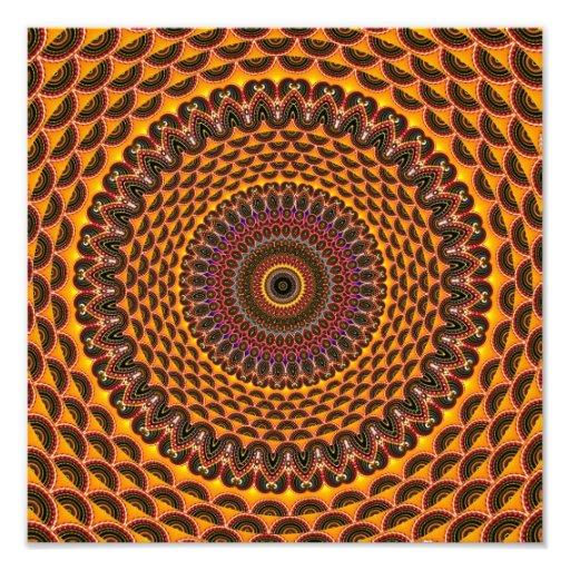 Golden Rainbow Mandala Pattern Photographic Print
