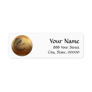 Golden Ram Chinese New Year of the Sheep 2015 Return Address Label