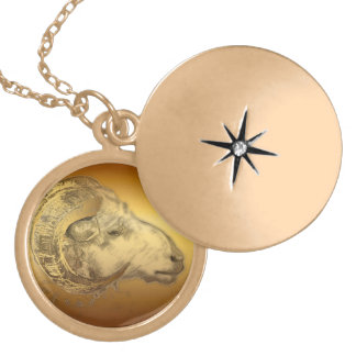 Golden Ram Chinese Zodiac Aries Sign Necklace