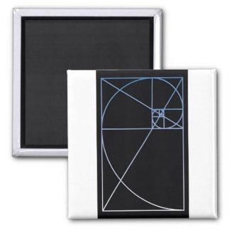 Golden Ratio Blue Square Magnet