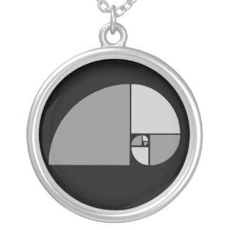 Golden Ratio, Fibonacci Spiral Silver Plated Necklace