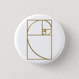 Golden Ratio Sacred Fibonacci Spiral 1 Inch Round Button