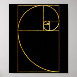 Golden Ratio Sacred Fibonacci Spiral Poster