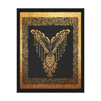 Golden raven canvas print