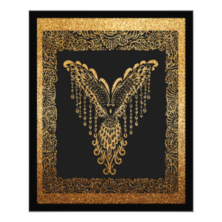 Golden raven photo print
