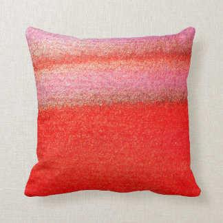 Golden Red Abstract Watercolor Cotton Pillow