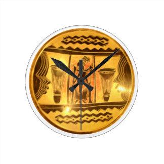 Golden Red African Drummers Round Clock
