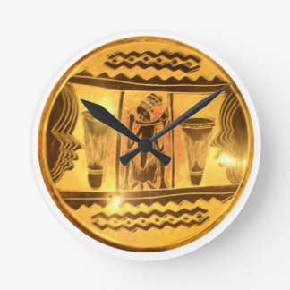 Golden Red African Drummers Wallclocks