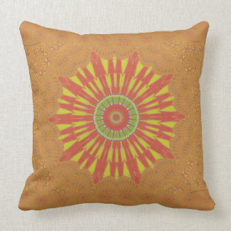 Golden red African traditional art pillow