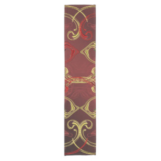 golden, red and black shiny festive colored short table runner