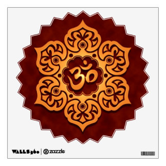 Golden Red Floral Om Design Wall Decal