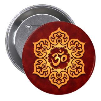 Golden Red Lotus Flower Om Button