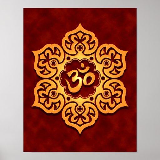 Golden Red Lotus Flower Om Print