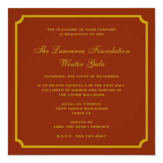 "Golden red square frame corporate holiday formal 5.25"" square invitation card"
