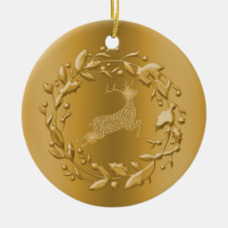 Golden Reindeer and Wreath Christmas Ceramic Ornament