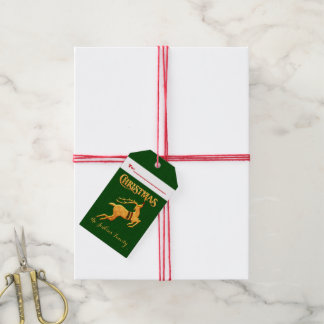 Golden Reindeer Christmas with Green Damas 2-Sided Pack Of Gift Tags