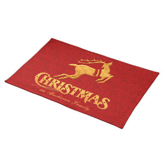 Golden Reindeer Family Christmas with Red Place Mat