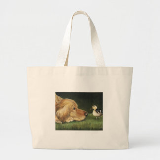 """Golden Retriever and Duckling"" Dog Art Tote Bag"